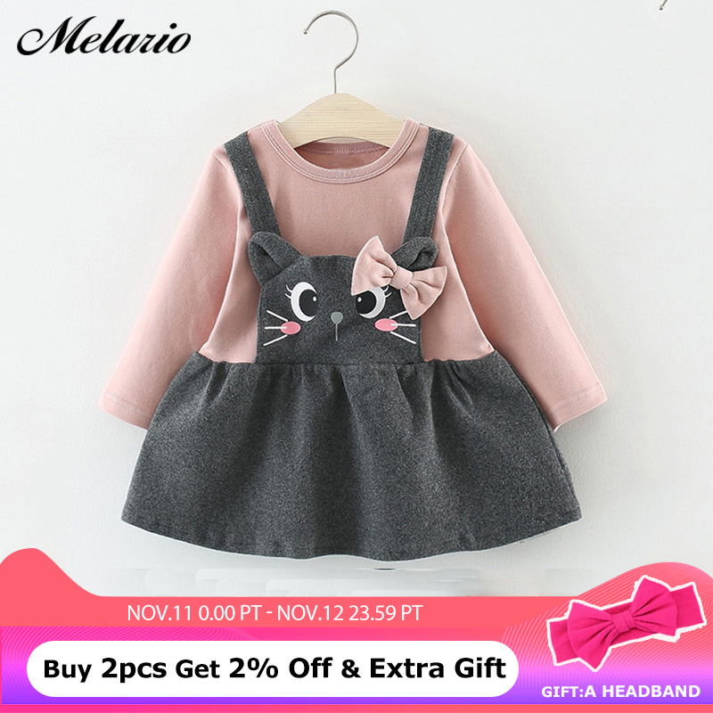 Melario Baby Dress Autumn baby girl dress full Sleeve Princess Kids Clothes Cat Print winter clothes