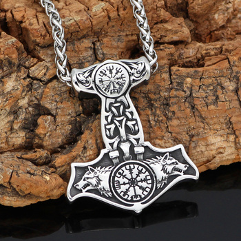 Viking Thor Hammer Odin Wolf Vegvisir Mjolnir Pendant Necklace  Viking Necklace