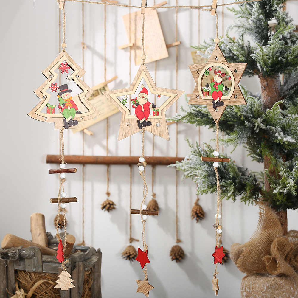Creative Wood Craft Kerst Houten Hangers Ornamenten Kids Gift DIY Xmas Tree Ornament Christmas Party Decorations