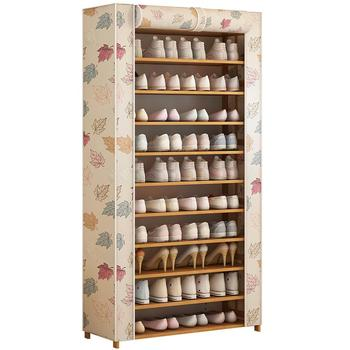 Multi-layer shoe rack dustproof simple  cabinet door dormitory household large capacity storage s shelf Oxford cloth