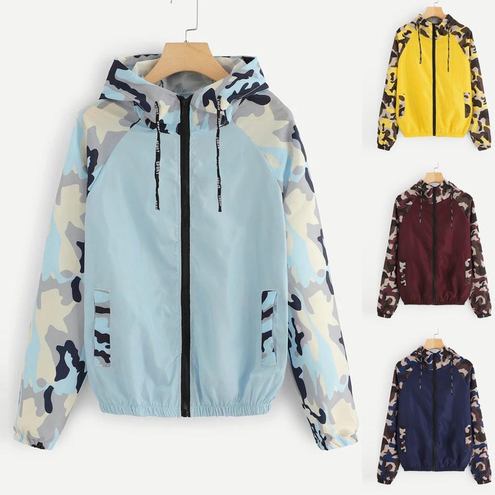 Fashion Hooded Sweatshirt Women Sport Coat Long Sleeve Patchwork Colors Hooded Zipper Pockets Casual Women Tops #15