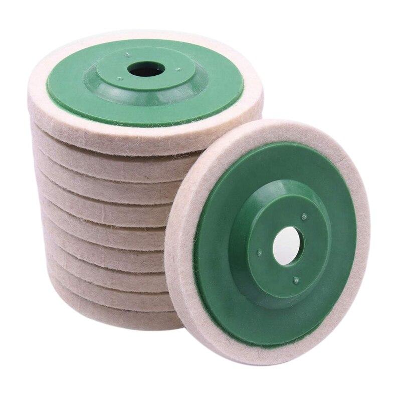 10 pièces 100Mm 4 pouces laine polissage rond polissage roues tampons polisseuse roues pour cuivre fer et aluminium métal outils de polissage