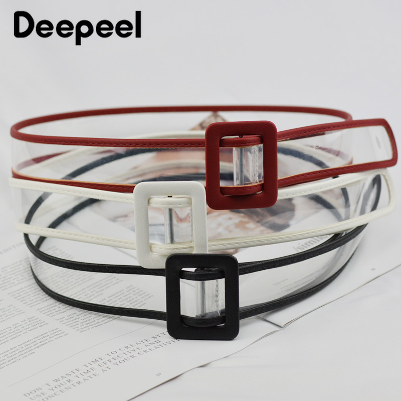 Deepeel 1pc 4*102cm Women Transparent Color Frame Cummerbunds High Quality PU Frame Personality Adjustable Belt Girls Gift CB620