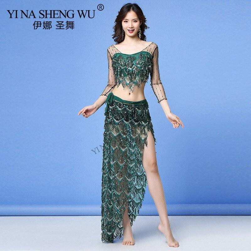Sexy Women Belly Dance Set Sequin BellyDance Practice Costume Dress Transparent Mesh Long/Half Sleeve Top Tassel Hip Scarf Skirt