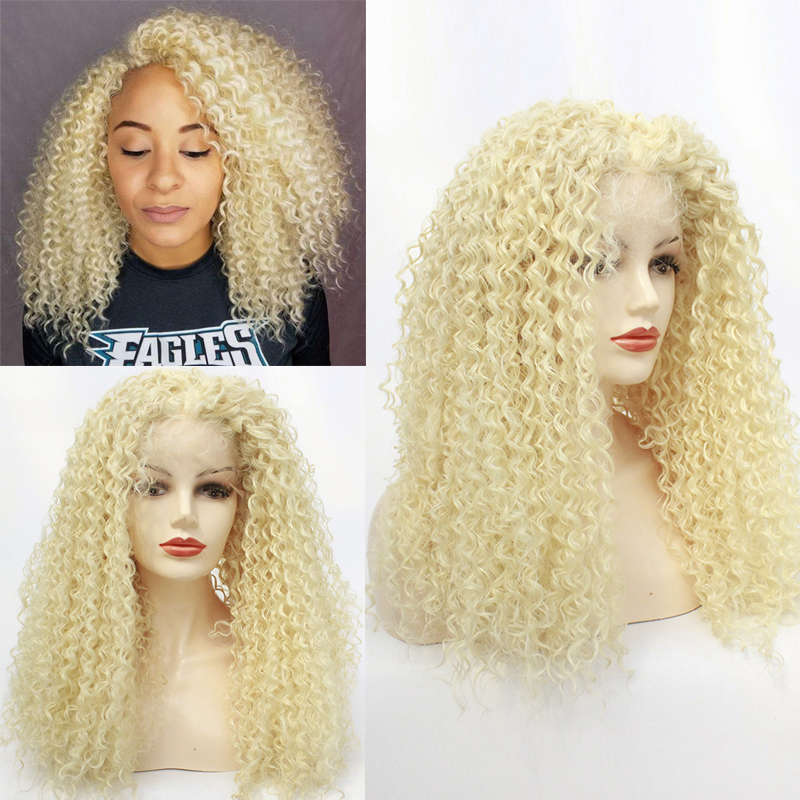 613# 60#Blonde Kinky Curly Synthetic Hair Wigs For Black Women Andromeda Soft Fluffy Curls Hair Wig Loose Curly African American
