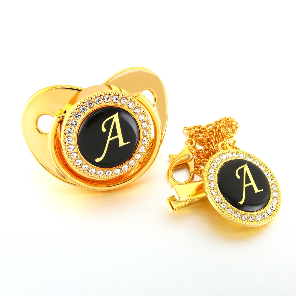 Gold Name Initials Letter Bling Baby Pacifier And Pacifier Chain Infant Toddlers Baby Pacifier Silicone Nipple Dummy