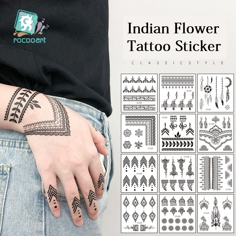 Rocooart Finger Temporary Tattoo Indian Tribal Waterproof Flash Tattoo Sticker Black Tatoo Women Hand Taty Flower Fake Tatto