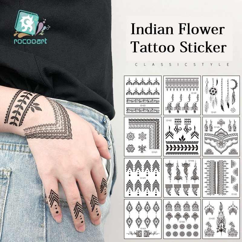 Rocooart Jari Tato Sementara India Suku Tahan Air Flash Stiker Hitam Tato Wanita Tangan Taty Bunga Palsu Tatto
