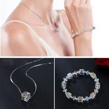 1 Set Sparkling Aurora Crystal Stretch Bracelet Necklace Jewelry Set For Women H8WF(China)