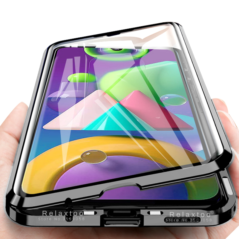 360° full cover magnetic flip case for samsung galaxy m21 m30s a51 a71 a70 a50s a50 a30 <font><b>a20</b></font> m30s double-sided glass coque <font><b>capas</b></font> image