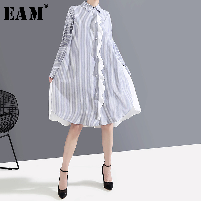 [EAM] Women Striped Spliced Oversize Shirt Dress New Lapel Neck Long Sleeve Loose Fit Fashion Tide Spring Autumn 2020 1A882