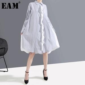Image 1 - [Eam] feminino listrado emendado oversize camisa vestido nova lapela pescoço manga longa solto ajuste moda maré primavera outono 2020 1a882