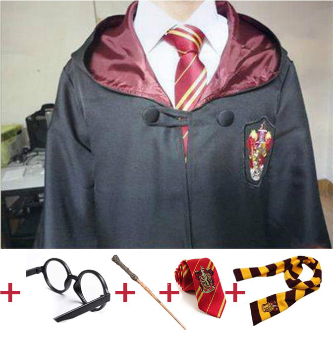 Robe Cape Cloak With Tie Scarf Wand Potter Glasses Ravenclaw Gryffindor Hufflepuff Slytherin Costume Kids Adult Potter Cosplay