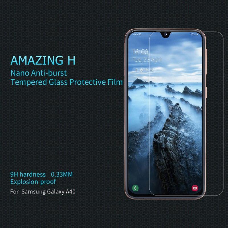 Cep telefonları ve Telekomünikasyon Ürünleri'ten Telefon Ekran Koruyucuları'de Cam ekran koruyucu Samsung A40  Orijinal Nillkin temperli cam ekran koruyucu film title=