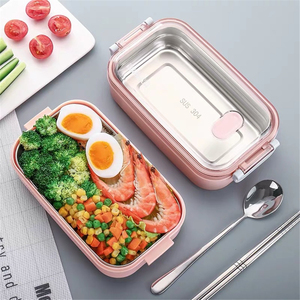 Portable Stainless Steel Lunch Storage Snack Tiffin Box Lunchbox Bag Bento Boxes Dinner Food Container Microwave For Kids Adults