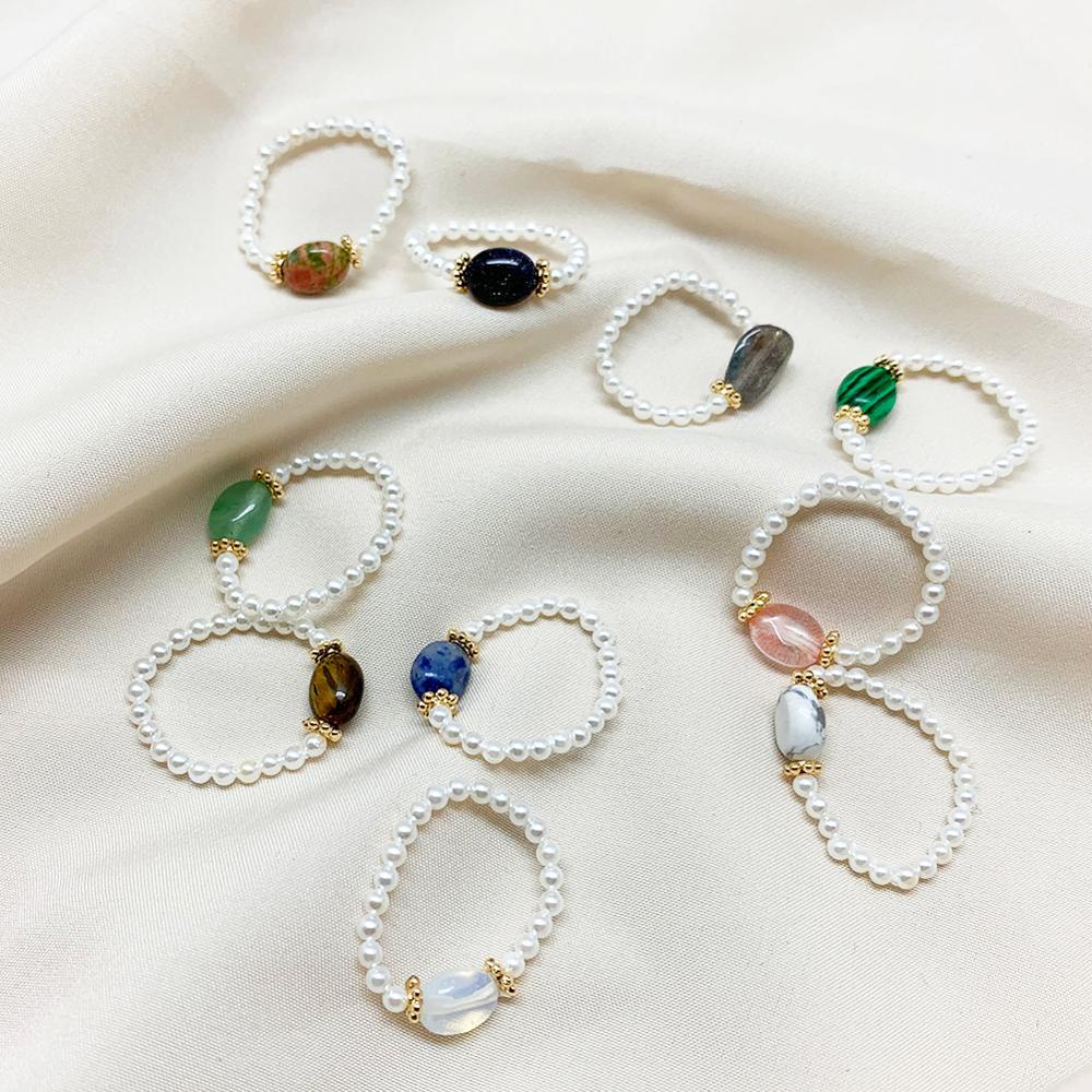 Кольцо женское с бусинами из пресноводного жемчуга, небольшое кольцо с регулируемым натуральным камнем ручной работы, подарок на Рождество...