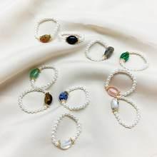 Moda pequena de água doce pérola grânulos anéis para mulher artesanal ajustável pedra natural chrismas presente anéis de festa para meninas
