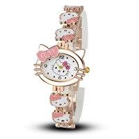 Часы Hello Kitty для детей изящное нижнее белье с принтом из мультиков для девочек часы кварцевые браслет наручные часы Детские часы Relogio Infantil ...