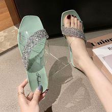 Летние Тапочки Женщин Сандалии Обувь Воздухопроницаемый Прозрачный Шику Открытым Носком Пляж Вьетнамки Ясный Открытый Плоский