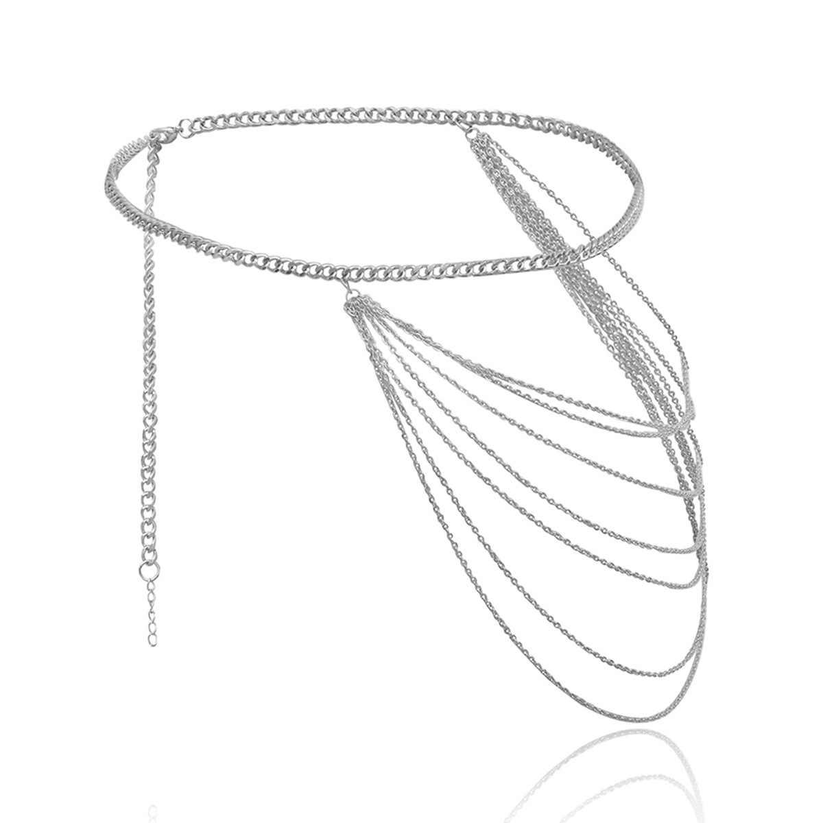 Meihuida Woemn moda Mental cinturón cadenas vientre moda Club desgaste joyería para el cuerpo cintura geométrica cadena cuerpo cinturones estilo coreano