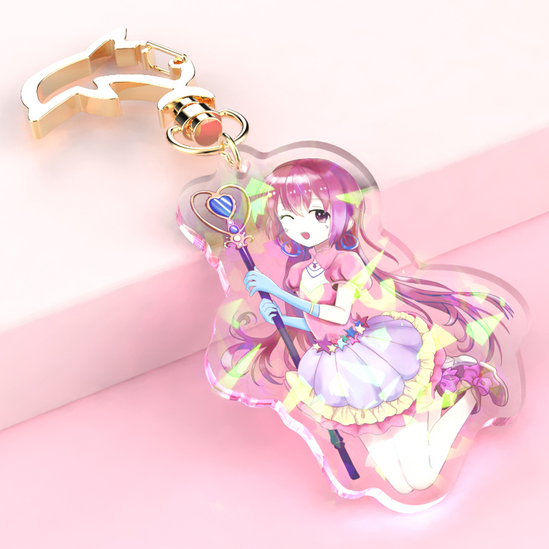 Vograce holographic charms clear acrylic printed transparent hologram keychain,make your own acrylic keychain with anime