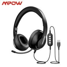 Mpow HC4 แบบมีสายหูฟังสำหรับ Call Center ไมโครโฟนแบบพับเก็บได้พับได้ชุดหูฟัง USB/3.5 มม.หูฟังสำหรับ skype PC แท็บเล็ต