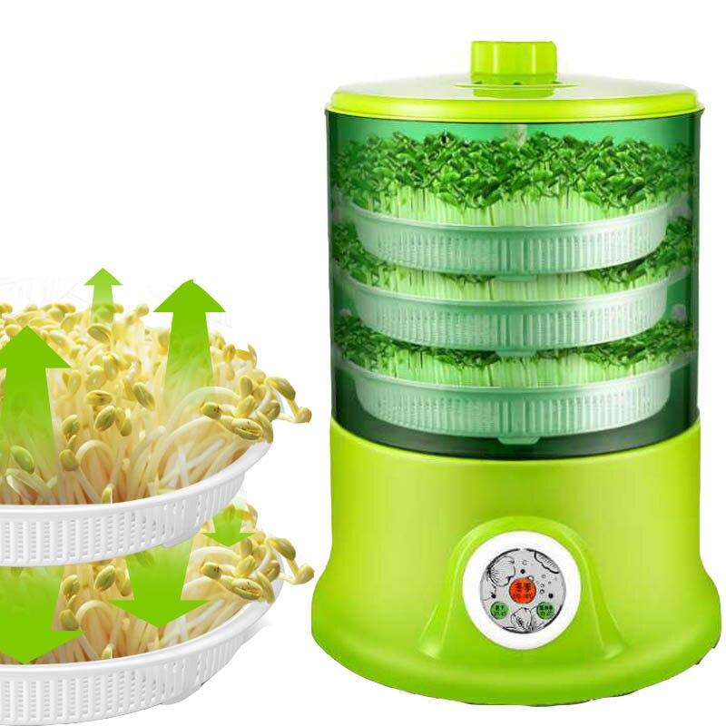 อัจฉริยะ Bean Sprouts Machine Grow ความจุขนาดใหญ่อัตโนมัติ Thermostat สีเขียวเมล็ดปลูกอัตโนมัติ Bean Sprout เครื่อง 220V