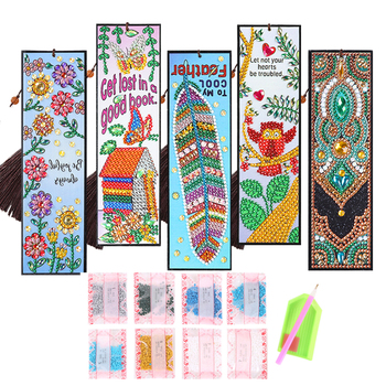5D DIY Diamond Painting Special Shaped PU Leather Bookmark Tassel Cross Stitch Rhinestone Embroidery Mosaic Kit Book Tab Craft image