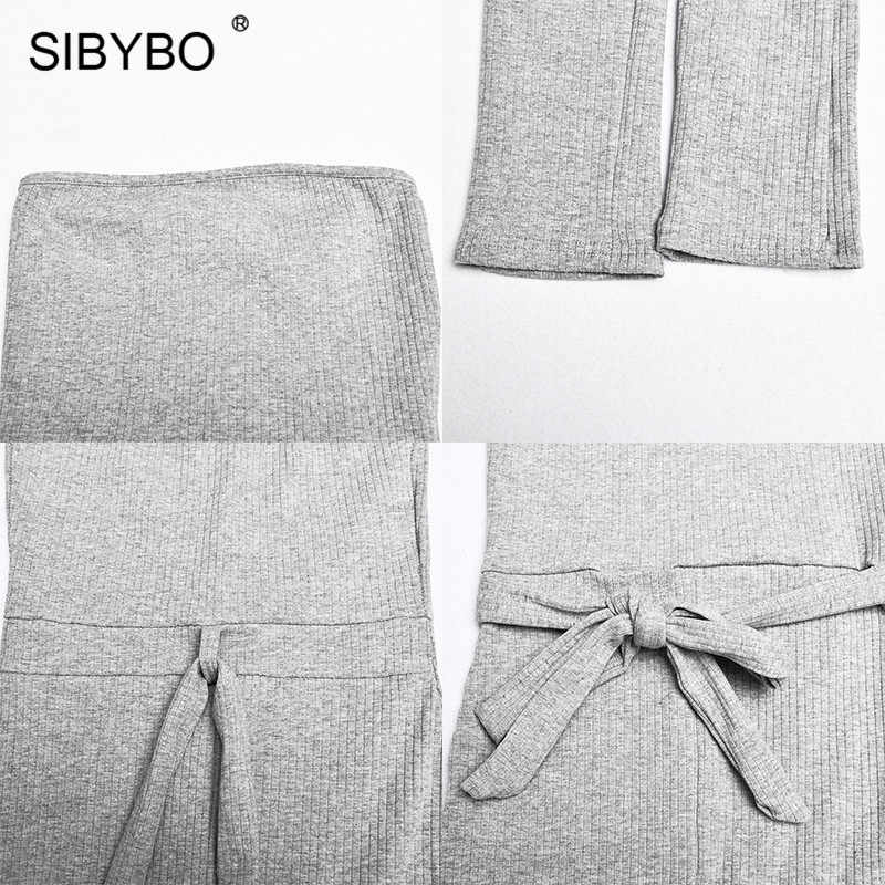 SIBYBO Ribbed ปิดไหล่เซ็กซี่ Jumpsuit ผู้หญิงที่ไม่มีสายหนังที่ไม่มีสายหนังผู้หญิงฤดูร้อน Rompers Skinny Backless Rompers WOMENS Jumpsuit