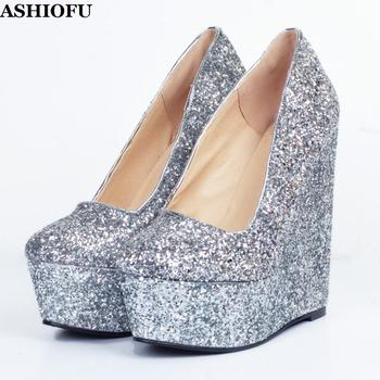 ASHIOFU Handmade Wadge Heel Pumps Glitter Nubuck Leather Party Dress Shoes Sexy Evening Club Fashion Pumps Court Shoes XD087