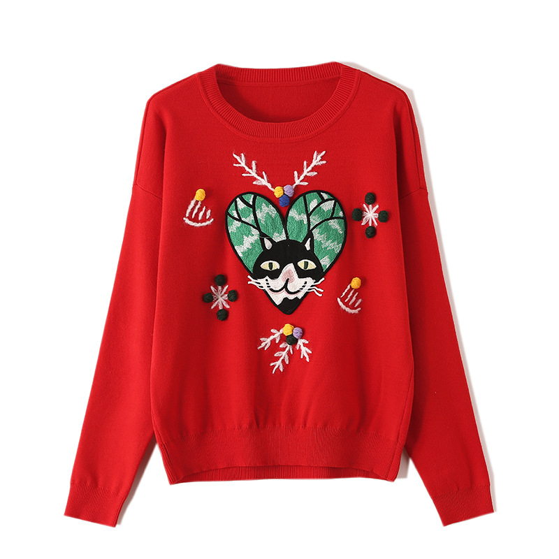 Cartoon Cat Sweatshirt for Women Long Sleeve Pullover Tops Fashion Casual Round Neck Jumper