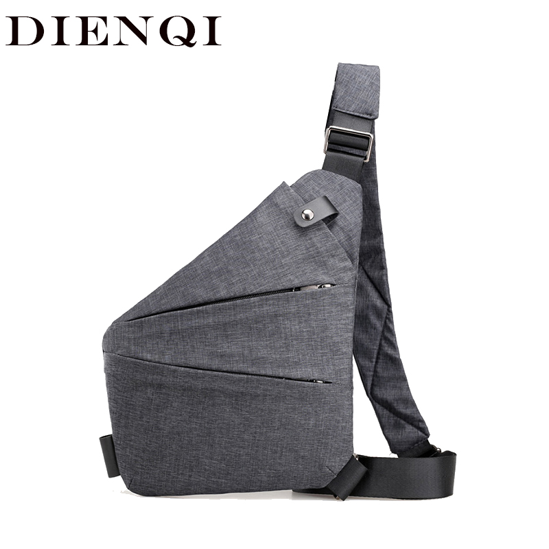 DIENQI Man Thin Personal Pocket Bag Holster Tactical Shoulder Sling Vintage Crossbody Bags Outdoor Zipper Anti-theft Chest Bags