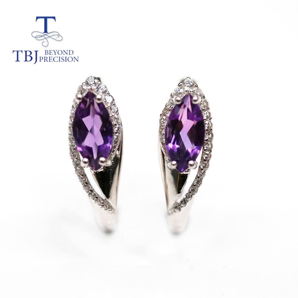 TBJ,Natural Brazil amethyst clasp earring mq 5*10mm  natural sky blue topaz  gemstone fine jewelry for women 925 sterling silver