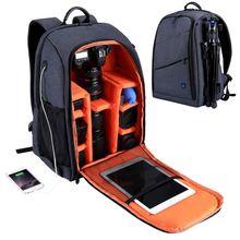 Puluz ao ar livre portátil à prova de riscos à prova dscratch água dupla ombros mochila acessórios da câmera saco de vídeo digital foto dslr (cinza