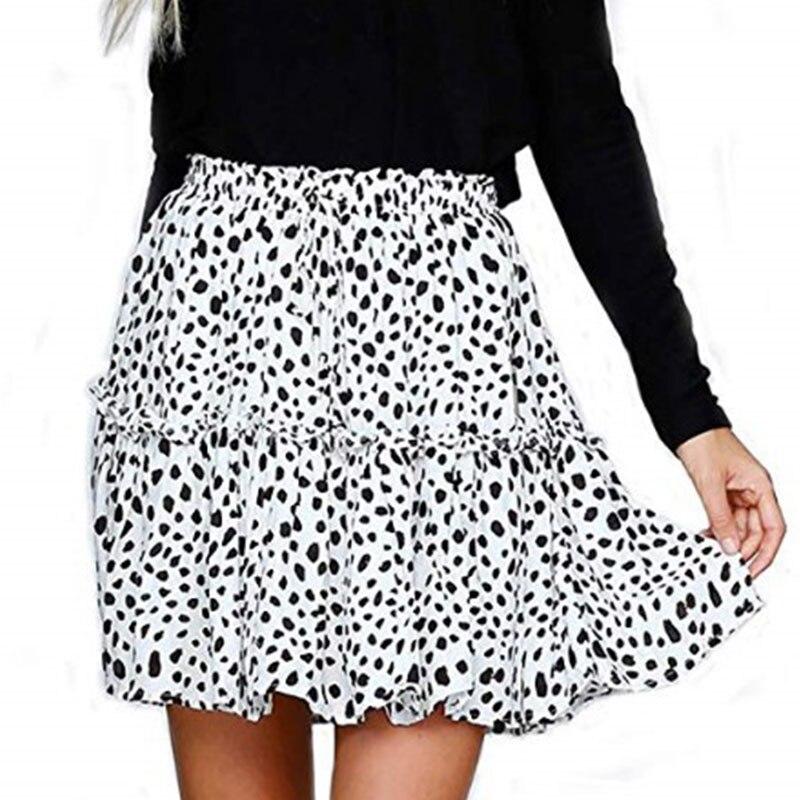 Women's Floral Flared Short Skirt Polka Dot Pleated Mini Skater Skirt with Drawstring 6