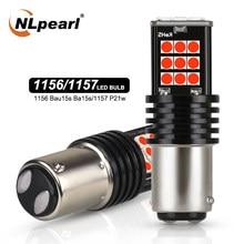 Nlpearl 2x lâmpada de sinal p21/5w led 1157 bay15d luz freio 12v 3030smd p21w vermelho ba15s 1156 py21w led bau15s luzes reversas do carro