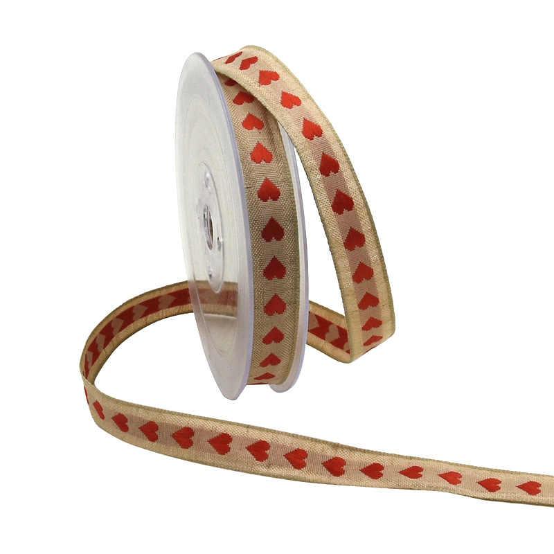 5 ярдов 15 мм Сердце льняная хлопковая ткань печатная лента отделка для упаковки подарков рукоделие поделки Поделки Сделай Сам лук для дома