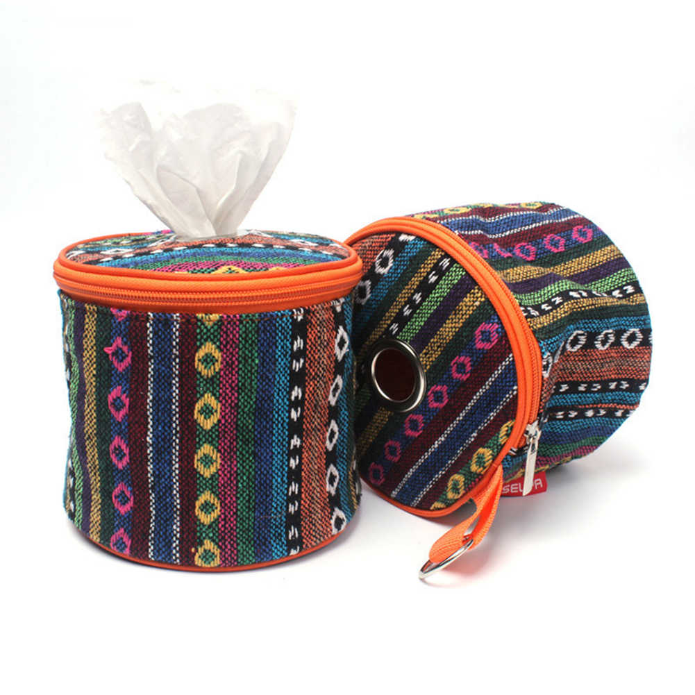 Portable Folding Camping Tent Hanging Roll Case Zipper Toilet Paper Holder