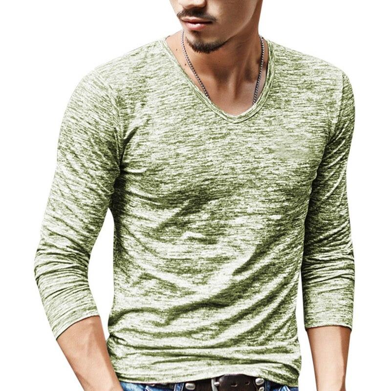 2020 Spring Men T-shirt Long Sleeve T Shirt Men Slim Basic Tops Tee Men Clothing Summer V Neck Top Tees Shirts Plus Size 3XL 5