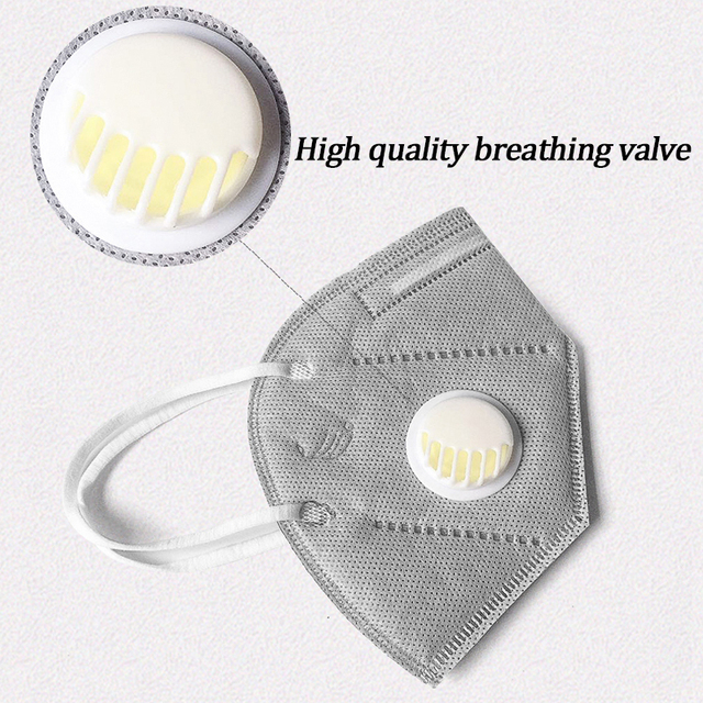 1PC  KN95 Folding Valved Dust Mask PM2.5 Anti flu Formaldehyde Bacteria Proof Face Mouth Mask Safe Breathable NEW 1