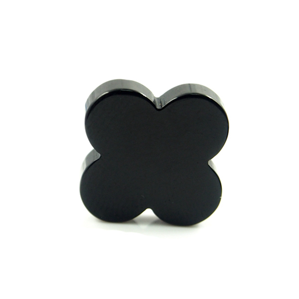 8*8 mm 50 Piece/a lot Four-leaf clover Black Onyx agate for jewelry pendant