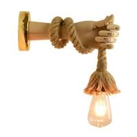 Campo 3D Forma Mão Luz de Parede Retro Loft Estilo Industrial Luzes LED Montado Lâmpada de Parede de Ferro De Madeira Corda de Cânhamo para café casa|Luminárias de parede| |  -