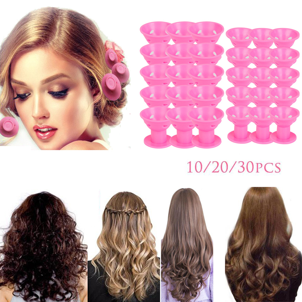 10/20/30pcs/set Magic Hair Care Rollers For Curler Sleeping No Heat Soft Rubber Silicone Hair Curler Twist Hair Styling DIY Tool