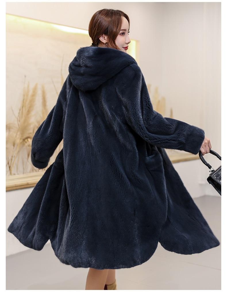 2020 Winter New Real Mink Fur Coat Female Long Hooded Slim Fashion Mink Jacket
