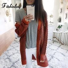 Fitshinling 2019 Boho Plaid Long Cardigan Knitwear Slim Buttons Up Orange Knitted Jacket Female Winter Sweaters Cardigans Women
