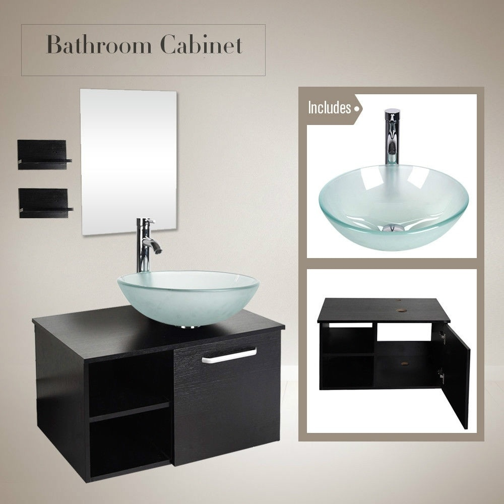 28 Bathroom Vanity Combo Wall Mount Cabinet Floating Vessel Sink