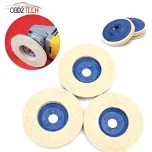 100mm Wool Polishing Wheel Beige Buffing Pads Grinding Angle Grinder Wheel Felt Polisher Disc For Ceramic Metal Glass Plastic