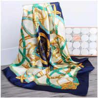 Luxury brand Retro Ladies Silk Scarf Bandana Fashion Women Printed Hijab Scarf Leopard Chain Pattern Large Square Scarves Wrap