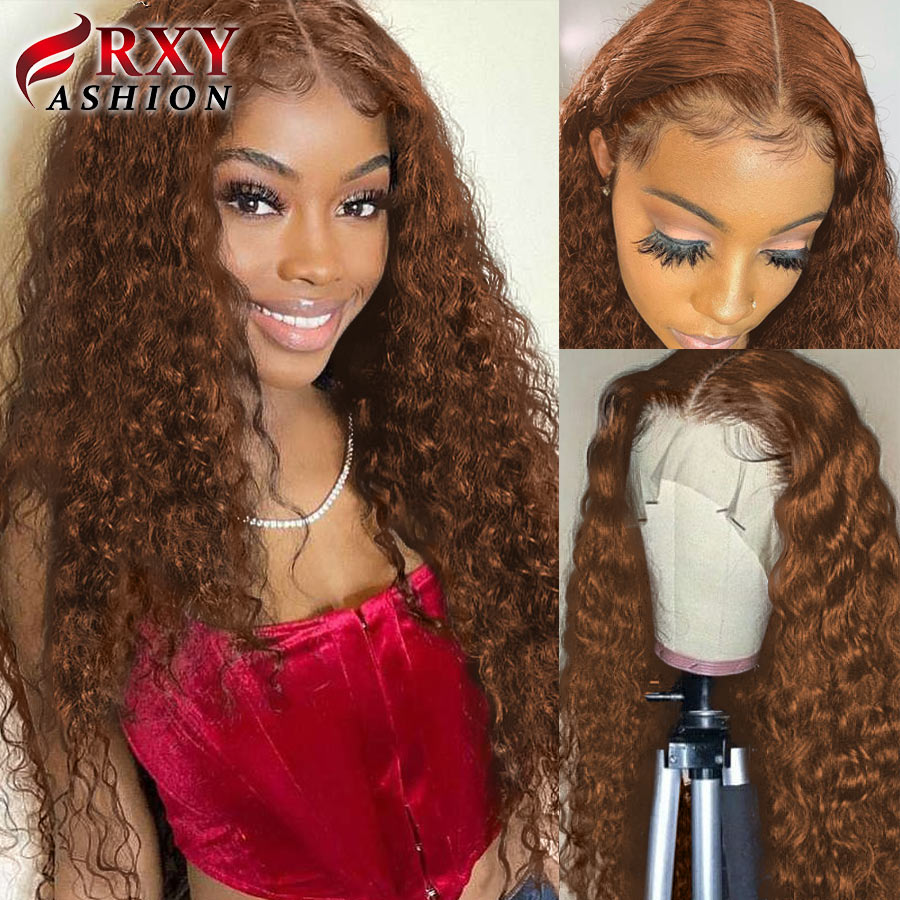 Brown Wig Deep Wave Frontal Wig #4 #2 T Part Wet And Wavy Curly Human Hair Wig Transparent Lace Wigs For Women Human Hair Remy