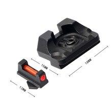 Mini Glock mira frontal/trasero de combate táctico mira de fibra óptica para Glock 17 17C... 17L 19 19C 20 20C 20S 21 pistola